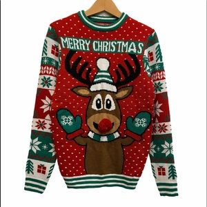 Ugly Christmas Sweater Pompom Rein Deer Nose Holiday Oversized Sweater S…